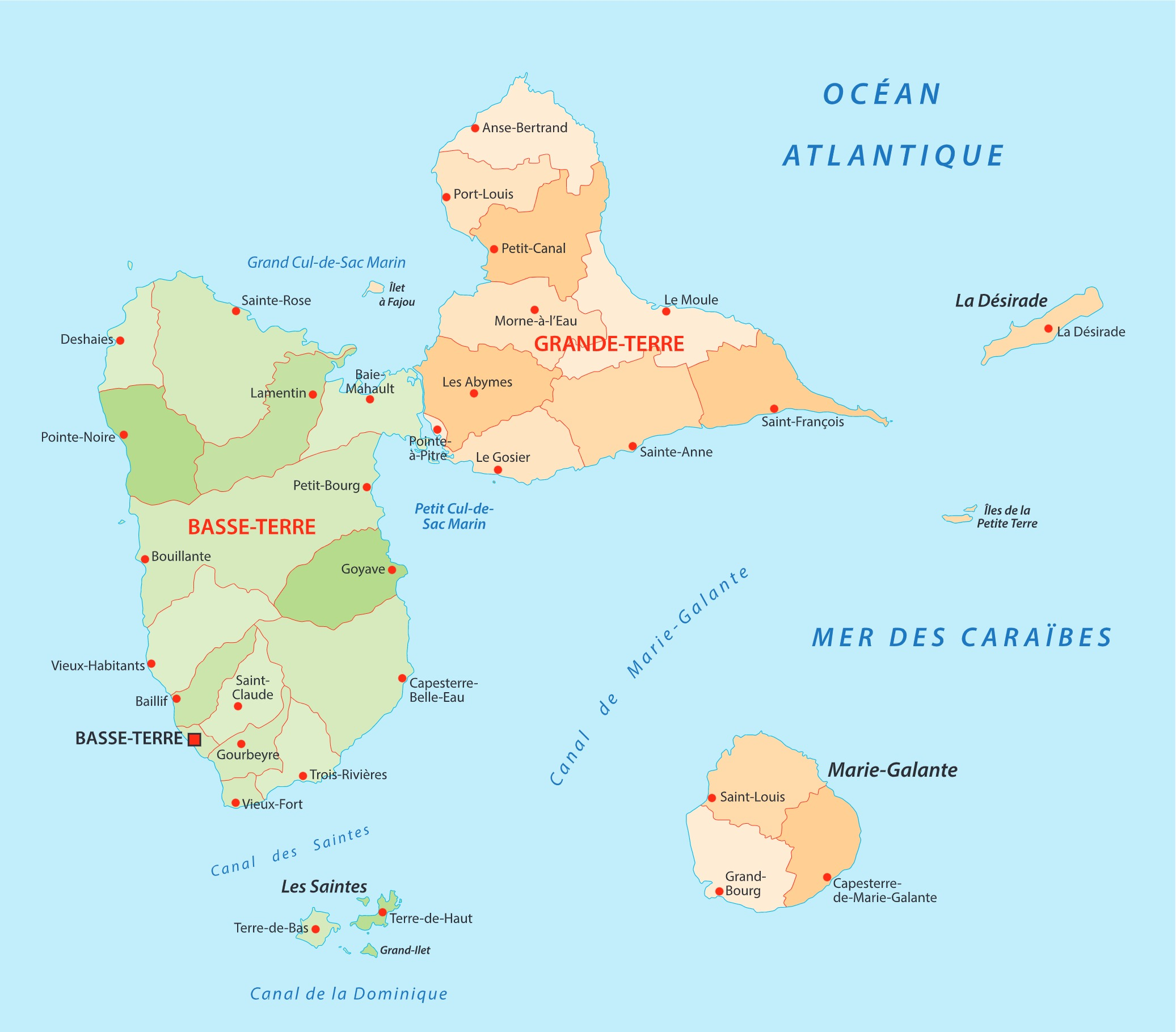 location voiture Guadeloupe aeroport carte